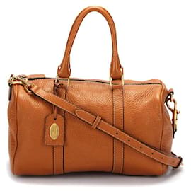 Fendi-Fendi Leather Selleria Boston Bag in brown calf leather leather-Brown