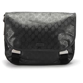 Gucci-Gucci GG Imprime Crossbody Bag in black coated/waterproof canvas-Black