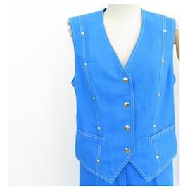 Céline-NEW CELINE JEAN PANTS SET + SLEEVELESS VEST JACKET L 44 en cotton bleu-Blue