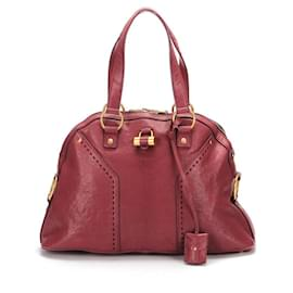 Yves Saint Laurent-Yves Saint Laurent Leather Muse Bag in red | maroon calf leather leather-Brown,Red