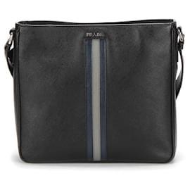 Prada-Prada Saffiano Messenger Bag in black calf leather leather-Black