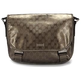 Gucci-Gucci GG Imprime Messenger Bag in brown coated/waterproof canvas-Brown