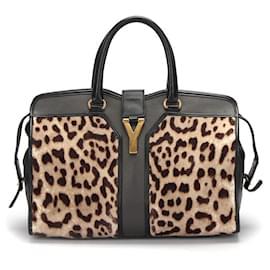 Yves Saint Laurent-Yves Saint Laurent Pony Hair Leopard Print Cabas Chyc in brown fur-Brown