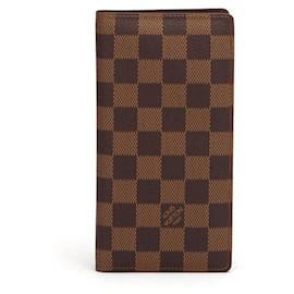 Louis Vuitton-Louis Vuitton Damier Ebene Brazza Wallet in brown coated/waterproof canvas-Brown