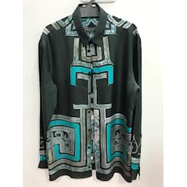 Versace-VERSACE COLLECTION 100% silk buttons up shirt-Blue