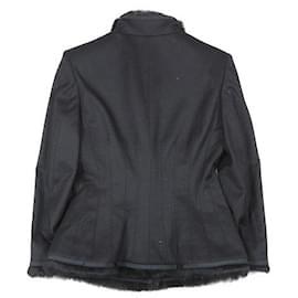 Alexander Mcqueen-[Used] ALEXANDER MCQUEEN 2005 Made Light Melton Jacket Rabbit Fur Fly Front Blouson 40 Black Lady-Black