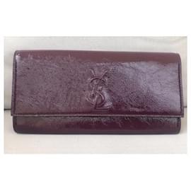 Yves Saint Laurent-YSL Purple Belle de Jour Patent Leather Clutch Bag-Purple