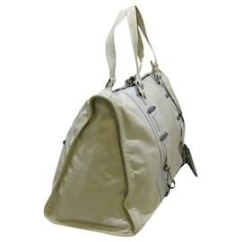Balenciaga-Balenciaga White Perforated Hook Leather Tote Bag-White,Cream
