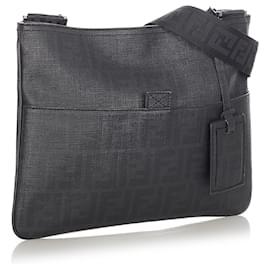 Fendi-Fendi Black Zucca Coated CanvasCrossbody Bag-Black,Grey,Dark grey