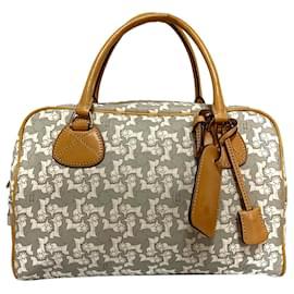 Céline-Celine Gray Carriage Boston Bag-White,Grey