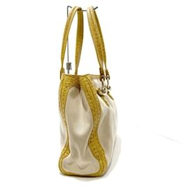 Céline-Celine White Canvas Tote Bag-Brown,White,Light brown