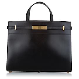 Yves Saint Laurent-YSL Black Small Manhattan Leather Satchel-Black