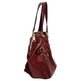 Yves Saint Laurent-YSL Red Downtown Leather Tote Bag-Red,Dark red
