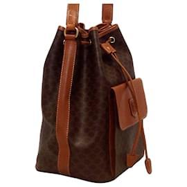 Céline-Celine Brown Macadam Drawstring Bucket Bag-Brown