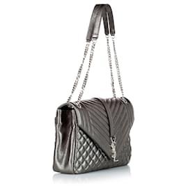 Yves Saint Laurent-YSL Silver Monogram Matelasse Envelope Shoulder Bag-Silvery