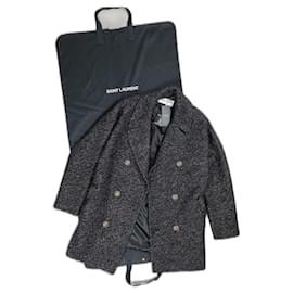 Saint Laurent-Saint Laurent coat-Black,Golden