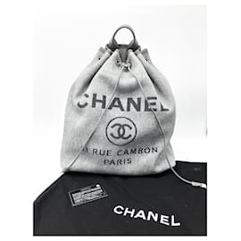Chanel-Superb Chanel Deauville backpack-Dark grey
