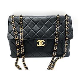 Chanel-Chanel Jumbo black leather single flap bag.-Black