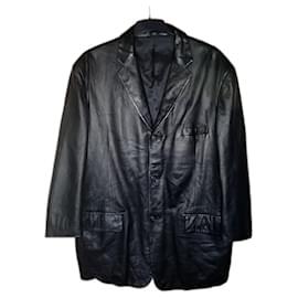 Autre Marque-ALFANI Positano Macy's Black Leather Blazer-Black