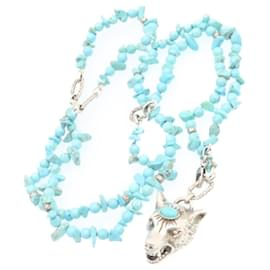 Gucci-GUCCI Anger Forest Wolf Head Necklace Pendant Silver Turquoise Blue Auth 20889-Silvery,Other