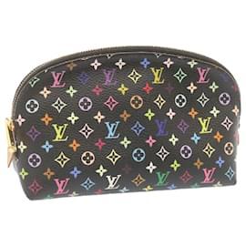 Louis Vuitton-LOUIS VUITTON Monogram Multicolor Pochette Cosmetic Pouch M47355 auth 23118-Black