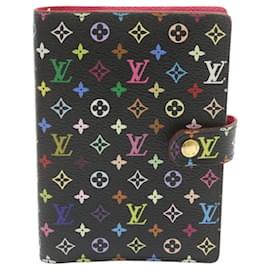 Louis Vuitton-LOUIS VUITTON Multicolor Agenda PM Day Planner Cover Black R20895 LV Auth 23672-Black
