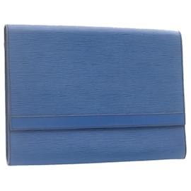 Louis Vuitton-LOUIS VUITTON Epi Pochette Envelope Clutch Bag Blue M52585 LV Auth 23919-Blue