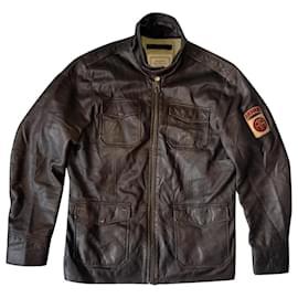 Autre Marque-AVIREX Airborne US Air Force Flight Garment 3/4 Semi Long Brown Leather  Varsity Jacket-Brown