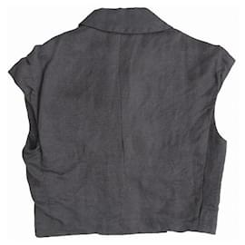 Alexander Mcqueen-[Used] ALEXANDER MCQUEEN Short Length lined French Sleeve Jacket Bruzon Gilet Vest-Dark grey