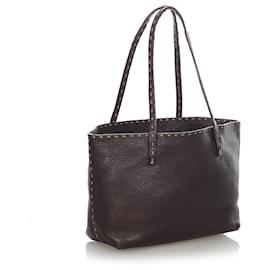 Fendi-Fendi Brown Selleria Leather Tote Bag-Brown,Dark brown