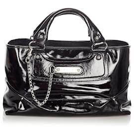 Céline-Celine Black Boogie Patent Leather Handbag-Black