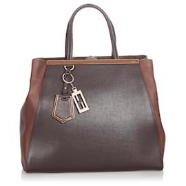 Fendi-Fendi Black Large 2Jours Leather Handbag-Brown,Black,Dark brown