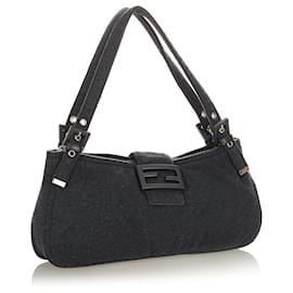 Fendi-Fendi Black Cotton Shoulder Bag-Black