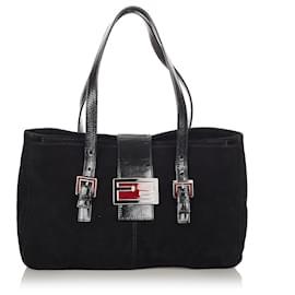 Fendi-Fendi Black Suede Shoulder Bag-Black