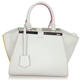 Fendi-Fendi White 3Jours Leather Handbag-White