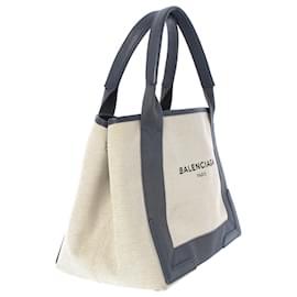 Balenciaga-Balenciaga Brown Navy Cabas S Canvas Tote Bag-Brown,Black,Beige