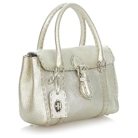 Fendi-Fendi Silver Mini Selleria Linda Leather Handbag-Silvery