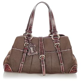 Céline-Celine Brown Canvas Shoulder Bag-Brown,Dark brown