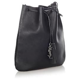 Yves Saint Laurent-YSL Black Leather Drawstring Crossbody Bag-Black