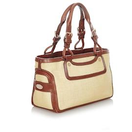 Céline-Celine Brown Boogie Raffia Handbag-Brown,Beige