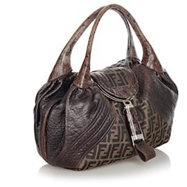 Fendi-Fendi Brown Zucca Spy Canvas Handbag-Brown,Dark brown