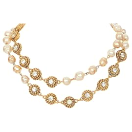 Chanel-Chanel Gold CC Faux Pearl Necklace-Brown,Beige,Golden