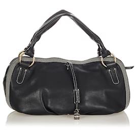Céline-Celine Black Bittersweet Leather Shoulder Bag-Black