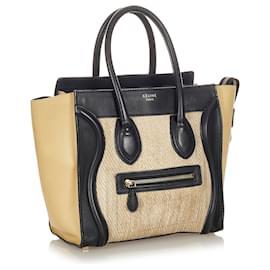 Céline-Celine Brown Luggage Bicolor Leather Tote Bag-Brown,Black,Beige