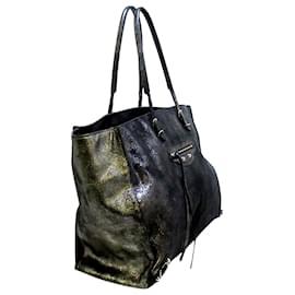 Balenciaga-Balenciaga Gray Papier A4 Leather Tote Bag-Grey,Dark grey