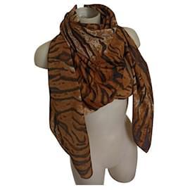 Gianfranco Ferré-Ferré brindle foulard stole-Brown,Black