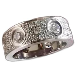 Cartier-Cartier White Gold Full pave diamond love ring  sz52-Other