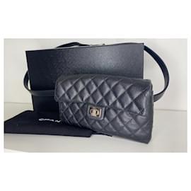 Chanel-Chanel bag belt 2.55 , Black grained leather-Black