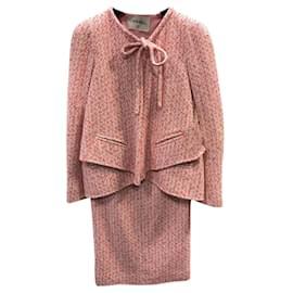 Chanel-2016 'Airlines' Runway Tweed Suit-Pink