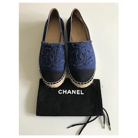 Chanel-CC Canvas Espadrilles-Black,Blue